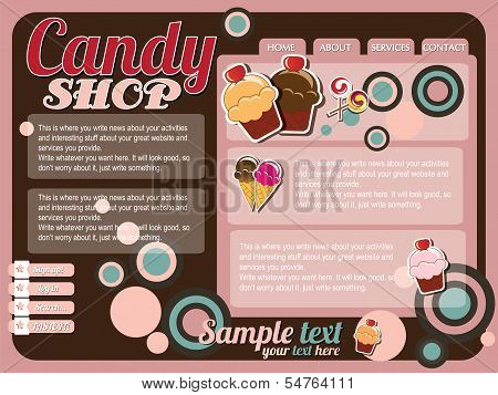 Website template design elements, vintage retro, candy shop, vector
