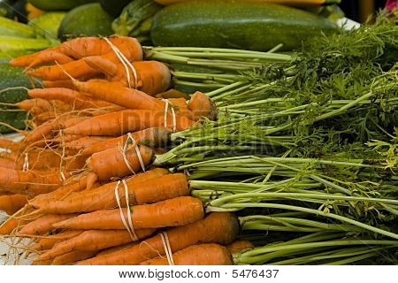 Fresh Pulled Carrots At Market
