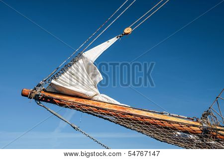 Bowsprit And Gathered Sail Of A Large Sailing Ship