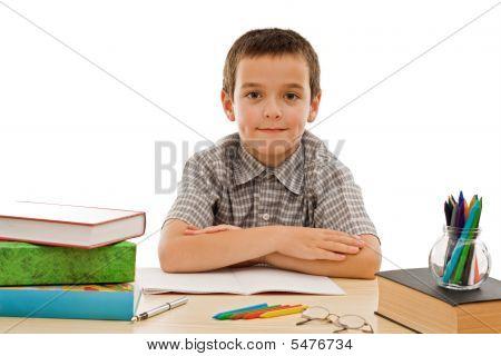 Happy Schoolboy Staying Calm