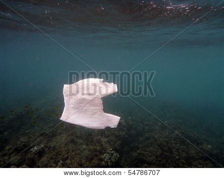 White Plastic Bag Floats In The Water Of The Ocean