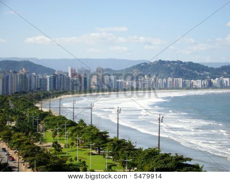 Beautiful View Of The Ciity Of Santos In Brazil