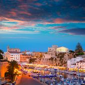 Ciutadella Menorca marina Port sunset town hall and cathedral in Balearic islands poster