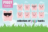 Collection of piggy banks with different face expressions and attitudes poster