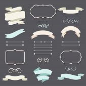 Set of romantic arrows, ribbons and labels in retro style. poster