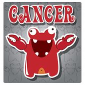 Zodiac sign Cancer with cute colorful monster, vector poster