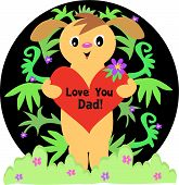 Here is a Puppy Dog holding a Love You Dad Heart Message. poster