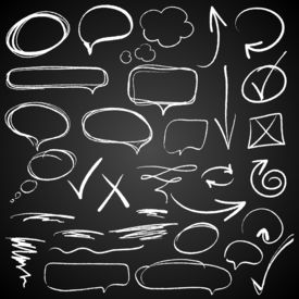 Hand-drawn design elements on blackboard