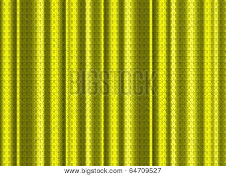A Yellow Silk Curtain With Lace Effect