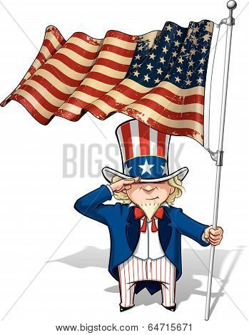 Uncle Sam Saluting The Us Wwi-wwii (48 Star) Flag
