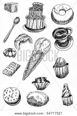 Sketches Of Desserts Hand Drawn