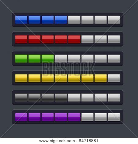 Color Loading Progress Bar Set.