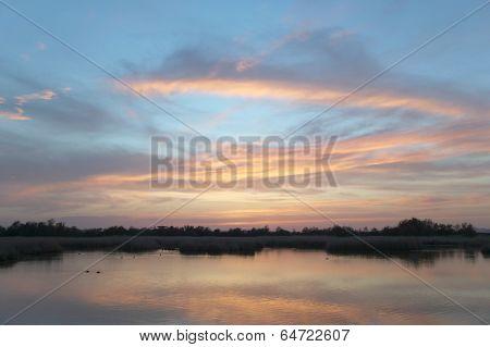 Wetland Landscape At Sunset. Tablas De Daimiel. Ciudad Real. Spain.