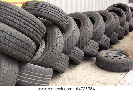 Old worn out tyres