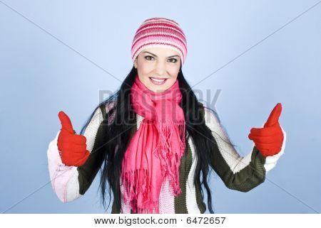 Successful Happy Winter Woman