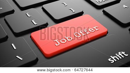 Job Offer on Red Keyboard Button.