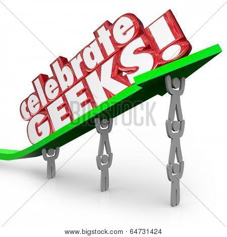 Celebrate Geeks Words Arrows Nerd Power