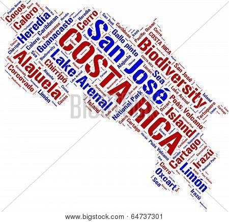 Costa Rica state vector map tag cloud