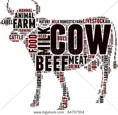 vector cow silhouette tag cloud illustration