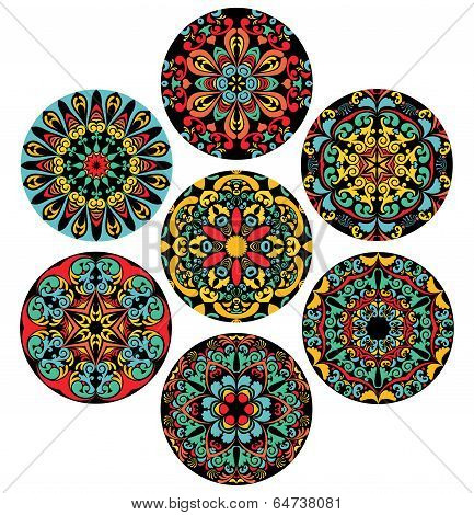 Set Of Brigh Circle Patterns