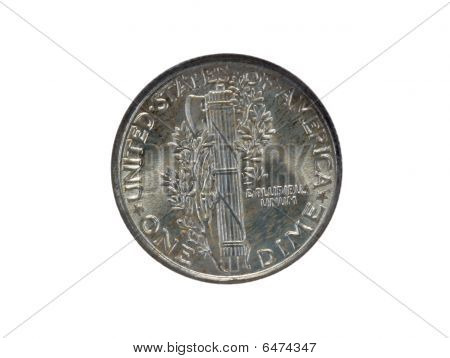 Closeup of silver dime