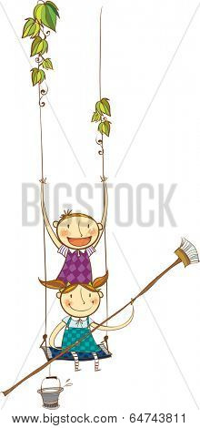 The view of children with trapeze