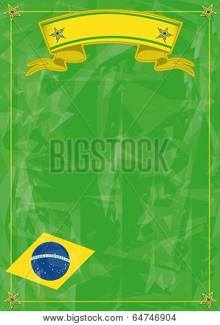 brazilian strange background. Brazilian grunge flag with ice texture for a poster.