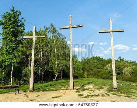 KAZIMIERZ DOLNY, POLAND - MAY 01 2014:. Three Crosses Mountain in Kazimierz Dolny, as a Memorial commemorating a plague that decimated the town's population