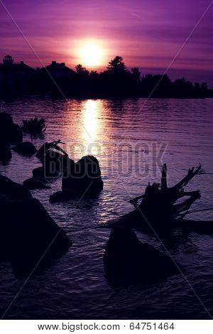 Summer Sunset over Muskoka Bay - Vertical