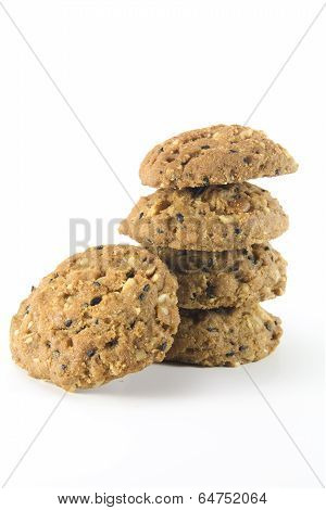 whole grain cookies isolated on white background. poster