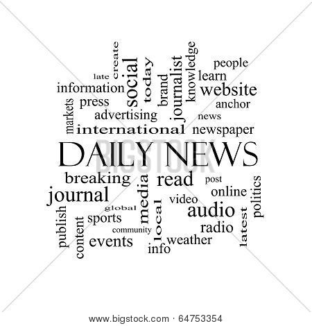 Daily News Word Cloud Concept In Black And White