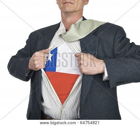 Businessman Showing Chile Flag Superhero Suit Underneath His Shirt