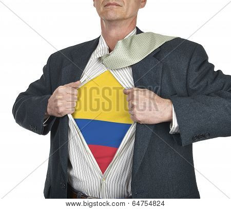 Businessman Showing Colombia Flag Superhero Suit Underneath His Shi