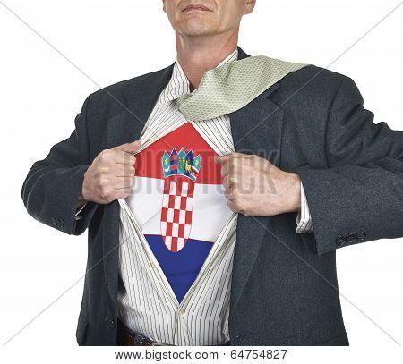 Businessman Showing Croatia Flag Superhero Suit Underneath His Shirt
