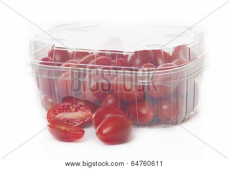 Fresh Red Tomatoes Isolated On White Background In Transparant Tray