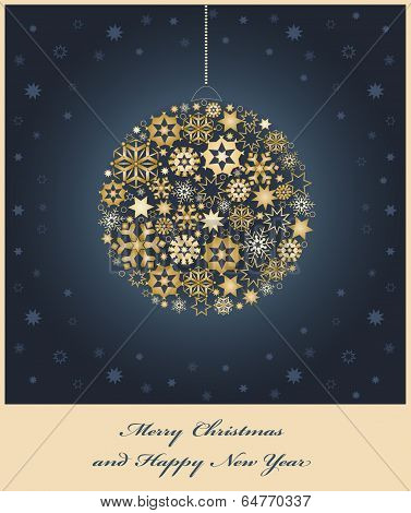Fir tree bauble from gold and golden snowflakes.