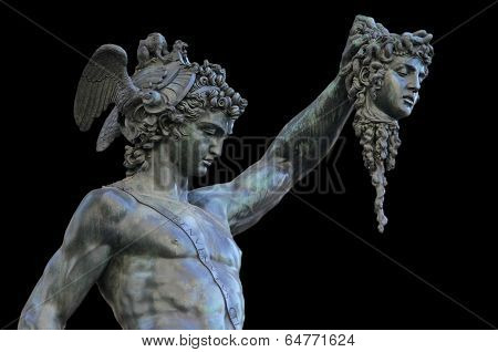 Perseus Holding The Head Of Medusa On Black Background,florence