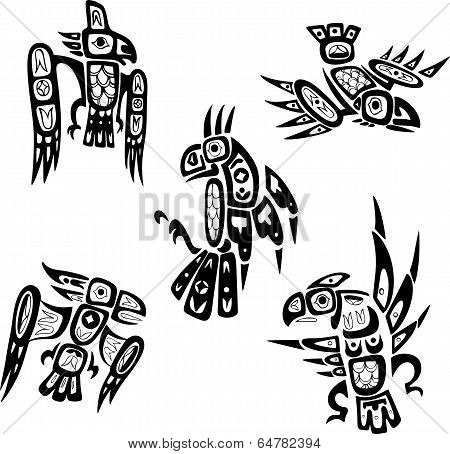 Native Indian Shoshone Tribal Drawings. Birds