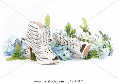 White Shoes With Blue Flowers