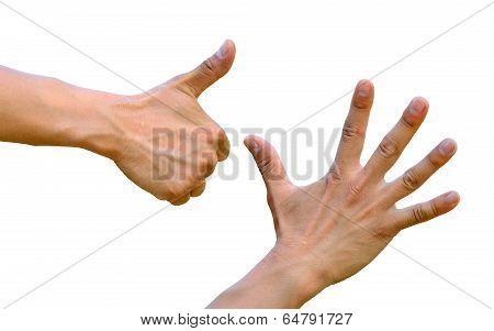 Thumb up five fingers open hands fist