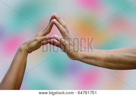 Two hands to the create the power of love and power of couple hands
