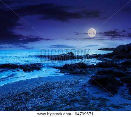 Sea Waves On The Sandy Beach At Night