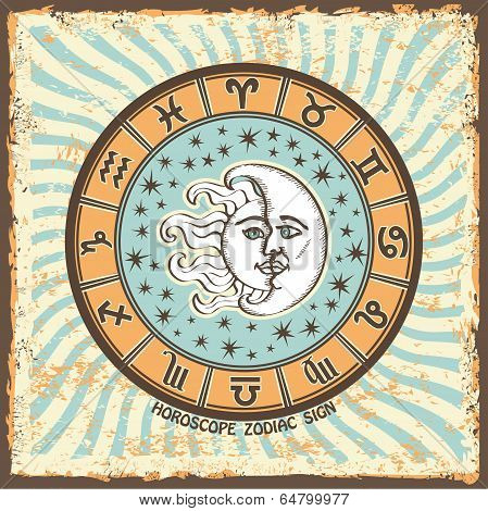 All Zodiac Sign In Horoscope Circle.vintage Horoscope Card