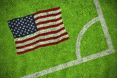 USA national flag against corner of football pitch poster
