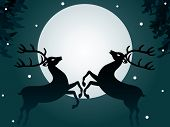 Reindeer love in front of a full moon, surrounded by snowflakes in the night sky poster