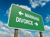 Road sign to marriage or divorce with blue sky poster