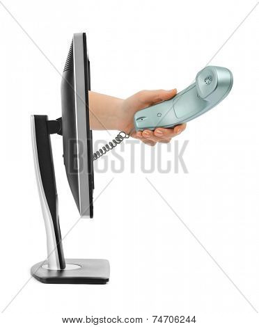 Computer screen and hand with phone isolated on white background