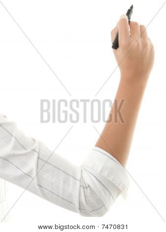 Hand writing isolated on white. Close up of woman arm writing with black marker. Isolated on white background. poster