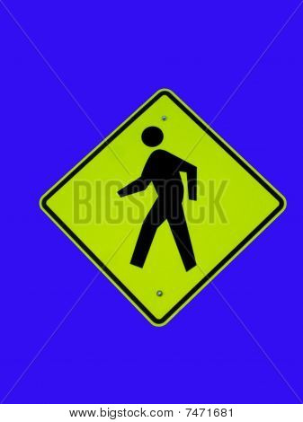 Traffic sign on blue background