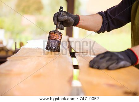 Varnishing of pine wooden planks, workers hand and paintbrush poster